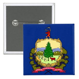 Botão com a bandeira de Vermont Bóton Quadrado 5.08cm