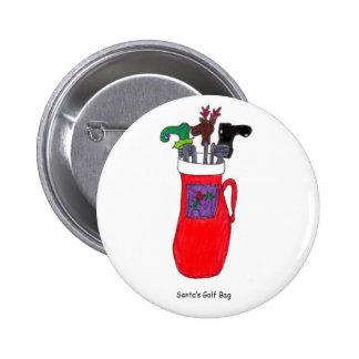 Botão cómico do saco de golfe do papai noel do Nat Bóton Redondo 5.08cm