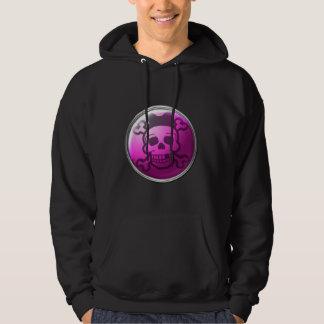 Botão cor-de-rosa bonito do crânio moleton com capuz