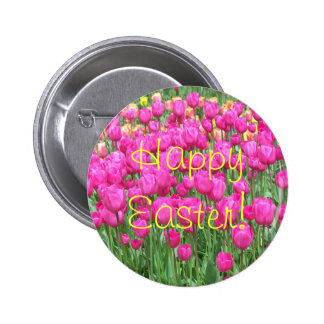 Botão cor-de-rosa da páscoa da foto das tulipas bóton redondo 5.08cm