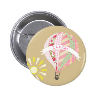 Botão cor-de-rosa do chá de fraldas do balão de ar bóton redondo 5.08cm