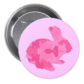 Botão cor-de-rosa do coelhinho da Páscoa da Bóton Redondo 7.62cm