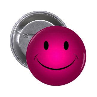 Botão cor-de-rosa do smiley face bóton redondo 5.08cm