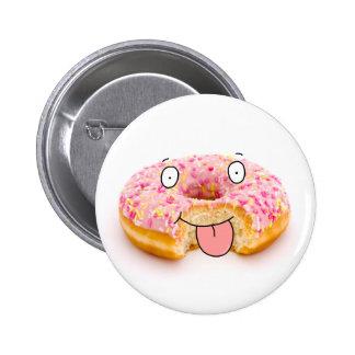 Botão cor-de-rosa feliz bonito do caráter da filhó bóton redondo 5.08cm