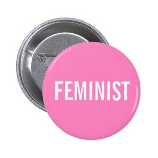 Botão cor-de-rosa feminista bóton redondo 5.08cm