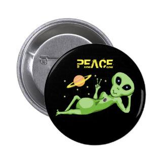 Botão da alienígena de espaço da paz bóton redondo 5.08cm