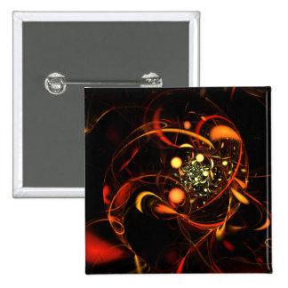 Botão da arte abstracta da pulsação do coração (qu bóton quadrado 5.08cm