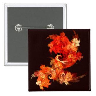 Botão da arte abstracta de Firebirds da dança (qua Bóton Quadrado 5.08cm