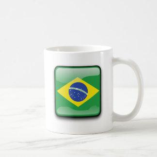 Botão da bandeira de Brasil Canecas