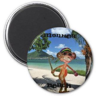 Botão da praia do macaco ímã redondo 5.08cm