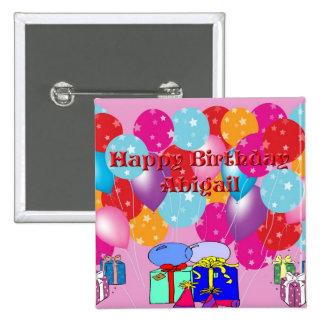 Botão de Abigail do aniversário Botons