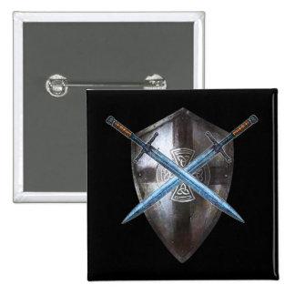 Botão de brasão - espadas dobro & cruz celta bóton quadrado 5.08cm