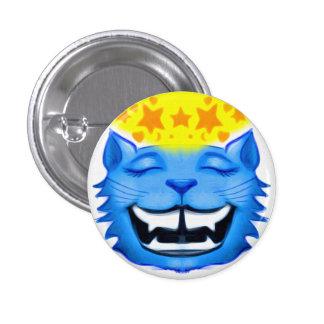 Botão de sorriso do gato azul com estrelas bóton redondo 2.54cm