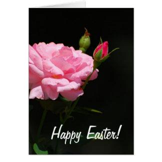 Botão de um rosa, felz pascoa! cartão comemorativo
