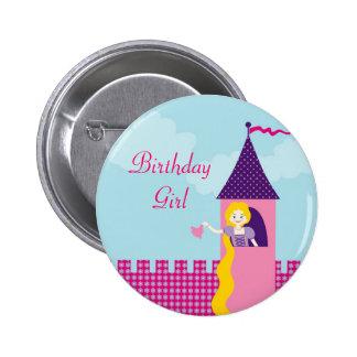 Botão do aniversário de Rapunzel Bóton Redondo 5.08cm