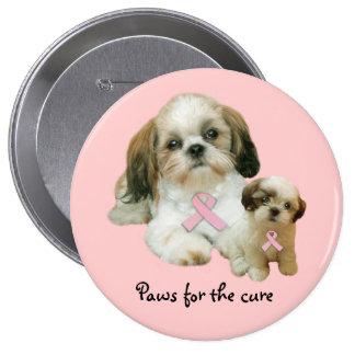 Botão do cancro da mama de Shih Tzu Bóton Redondo 10.16cm