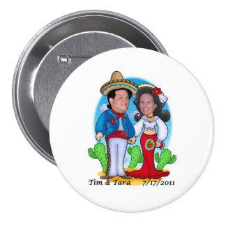 Botão do casamento de Tara e de Tim Bóton Redondo 7.62cm