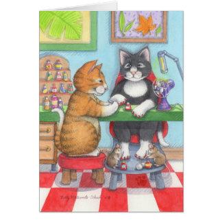 Botão do Manicure do aniversário & Tony Notecard Cartões