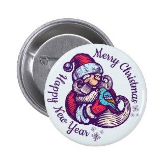 Botão do natal vintage com Papai Noel Bóton Redondo 5.08cm