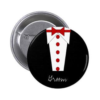Botão do noivo (vermelho) bóton redondo 5.08cm