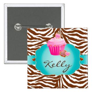 Botão do nome de etiqueta da zebra da padaria do b boton