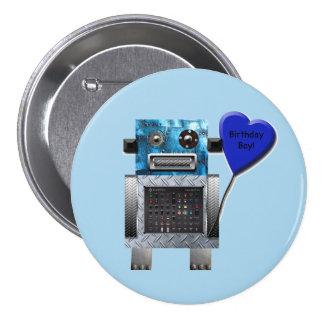 Botão do partido do robô do menino do aniversário bóton redondo 7.62cm