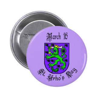 Botão do roxo da brasão do dia do St. Urho Bóton Redondo 5.08cm