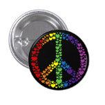 Botão do sinal de paz dos corações do arco-íris boton