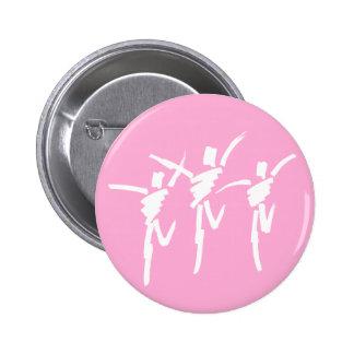 Botão do trio da dança do curso da escova no rosa bóton redondo 5.08cm