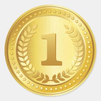 Botão do vencedor do lugar da medalha de ouro ø adesivo redondo
