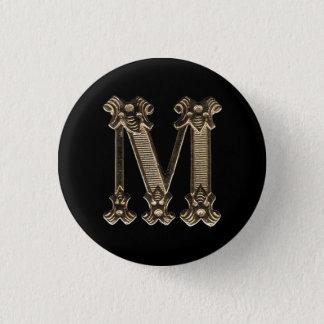 Botão dourado da inicial ou do monograma da letra bóton redondo 2.54cm