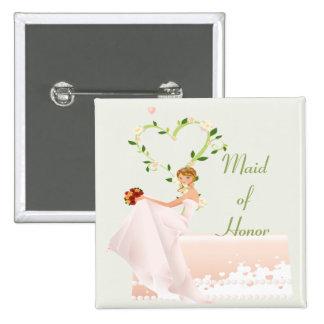Botão elegante da madrinha de casamento bóton quadrado 5.08cm