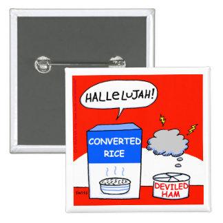 Botão engraçado dos desenhos animados cristãos do bóton quadrado 5.08cm