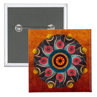 Botão floral da arte do vetor do abstrato da cor ( bóton quadrado 5.08cm
