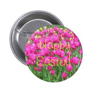 Botão floral da páscoa das tulipas cor-de-rosa bóton redondo 5.08cm