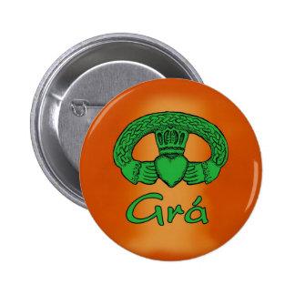 Botão gaélico irlandês do amor bóton redondo 5.08cm