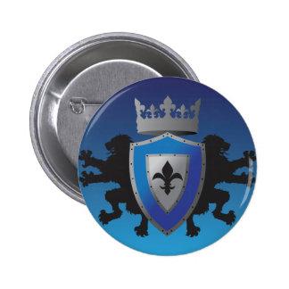 Botão medieval azul da heráldica do leão bóton redondo 5.08cm
