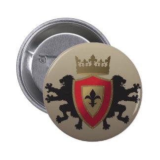 Botão medieval vermelho da heráldica do leão bóton redondo 5.08cm