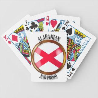 Botão orgulhoso da bandeira de Alabama Baralho De Poker