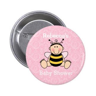 Botão personalizado do chá de fraldas da abelha bóton redondo 5.08cm