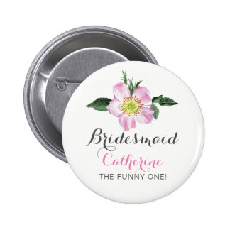 Botão personalizado floral da dama de honra bóton redondo 5.08cm
