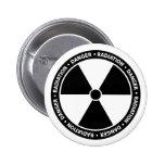 Botão preto e branco do símbolo da radiação botons
