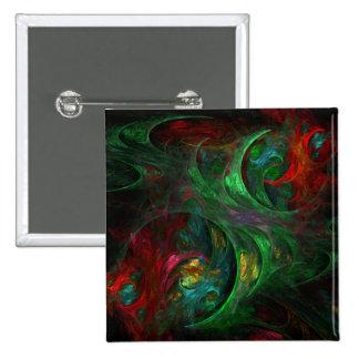 Botão verde da arte abstracta da génese (quadrado) bóton quadrado 5.08cm