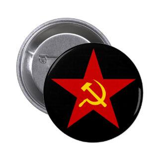 Botão vermelho comunista da estrela (martelo & foi bóton redondo 5.08cm