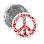 Botão vermelho do sinal de paz dos corações botons