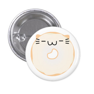 Botão vitrificado da rosquinha do gato bóton redondo 2.54cm