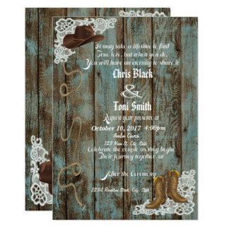 Botas & convite de casamento rústicos do laço