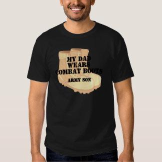 Botas de combate do deserto do pai do filho do t-shirt