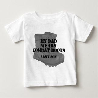 Botas de combate do pai do filho do exército tshirt