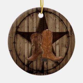 Botas de vaqueiro de madeira do país ocidental de ornamento de cerâmica redondo